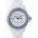 シャネル CHANEL J12 H1628 33mm ホワイトセラミックブレス 12Pダイヤ ベゼルブルーサファイヤ(合成)アフター  ホワイト