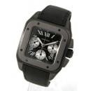 カルティエ サントス 100 XL チタン オートマチック クロノグラフ キャンバスレザー ブラック メンズ W020005